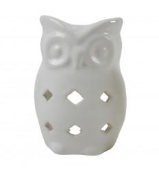 Bruciatore di profumo gufo / gufo in ceramica fatto a mano - bianco