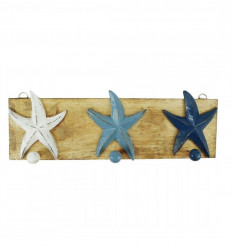 Patère 3 étoiles de mer tricolore en bois 40x14cm vue face
