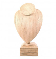 Busto display collana creata in legno massello lordo H30cm