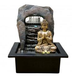 Indoor fountain golden Buddha Zen Dao. Led lighting.