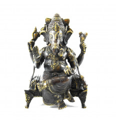 Grande statua di Ganesh seduto sul suo trono in bronzo massiccio 31 cm. Artigianato asiatico