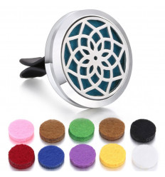 Clip-on car perfume diffuser + 10 blotters - Silver Lotus flower model