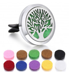 Clip-on car perfume diffuser + 10 blotters - Silver tree of life model