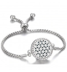 Adjustable Aromatherapy bracelet with fragrance diffuser - Silver flower of life motif & rhinestones