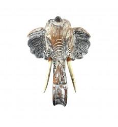 Wooden elephant head 40cm, wall hunting trophy - Size M