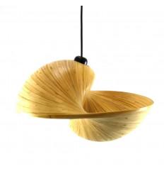 Lampadario / Sospensione in bambù srotolato di design Ø 50 cm - Modello Coï - Creazione artigianale - Vista frontale