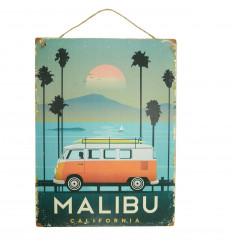 "Plaque murale artisanale en bois ""Malibu California"" 40x30cm"