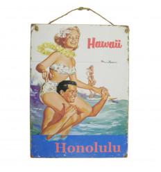 """Plaque murale artisanale en bois """"Hawaii Honolulu"""" 40x30cm"""