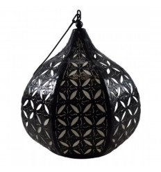 Moroccan pendant / chandelier in wrought iron and ethnic oriental style fabric