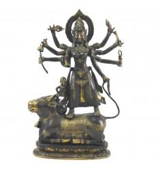 Grande statua di Shiva sul toro Nandi in bronzo massiccio 40 cm. Artigianato asiatico
