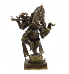 Grande Statue de Ganesh Musicien à 3 Têtes en Bronze Massif 51cm. Pièce Unique