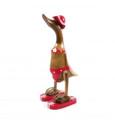 Decorative wooden duck 35cm - Red bikini - 3/4