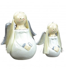 2 angels wood white Dress Deco Christmas craft.