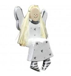 Statuette Ange assis en bois H14cm. Déco de Noël artisanale.