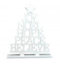 Arbre de Noël déco de table en bois blanc H30cm.