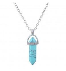 Collier avec pendentif pointe en Turquoise naturelle. Protection et Purification.