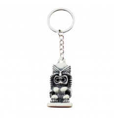 Key holder /White Tiki bag deco - Polynesian style