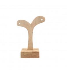 Piccolo albero con orecchini - legno solido grezzo - faccia