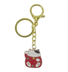 Maneki Neko Rouge Golden Keyring - Lucky Cat