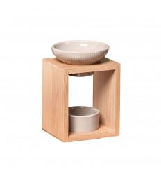 Brûle parfum élégant en bambou et céramique Série Naturéa - Yona