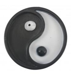 Porta incenso rotondo in bianco e nero per bastoni - simbolo Yin Yang