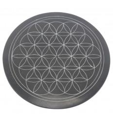 Porta incenso rotondo in bianco e nero in pietra ollare - Simbolo fiore della vita