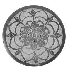 Porte-encens rond noir et blanc en Pierre à savon - Symbole mandala
