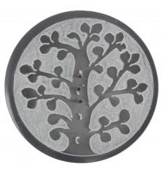 Porta incenso rotondo in bianco e nero in pietra ollare - Simbolo dell'albero della vita