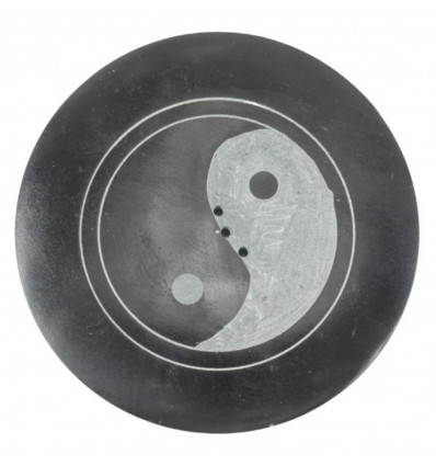 Black and white round incense holder in soapstone - Tree of life symbol