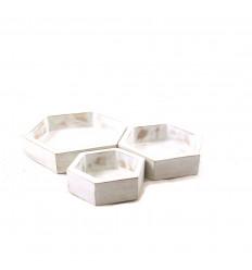 Set de 3 plateaux de présentation pour bijoux - Présentoirs hexagonaux gigognes en bois brut