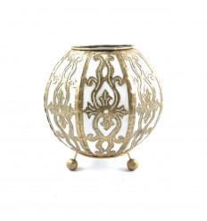 Lampada da comodino marocchina in ferro battuto oro e tessuto bianco ⌀10cm - viso