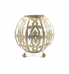 Moroccan lantern-style bedside lamp in gold wrought iron and white fabric ⌀10cm - face