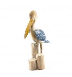 Grande statue pélican 60cm en bois peint - Décoration marine - 3/4