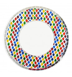 Large round mirror in multicolored glass mosaic 50cm - face