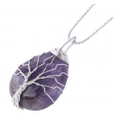 Collana con ciondolo picco di cristallo di roccia naturale. La forza e la Purificazione.