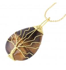 Collier avec pendentif ARBRE DE VIE en forme de goutte. Oeil de Tigre - Force et Purification