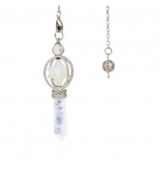 Pendule Merkaba en Opalite et pointe en Cristal de roche