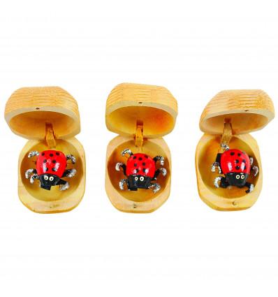 3 boites à chagrins - Coccinelles mangeuses de chagrin en bois