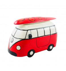 Tirelire Combi Van vintage en bois rouge - Fabrication artisanale - 3/4