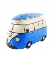Combi Van vintage blue wood drawer - Handcrafted - 3/4