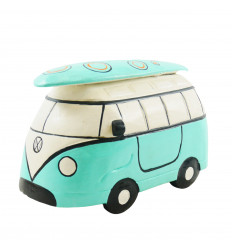 Combi Van vintage turquoise wood drawer - Handcrafted - 3/4