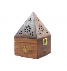 Boîte à encens pour cônes - porte encens à tiroir forme pyramide décor Bouddha - 3/4