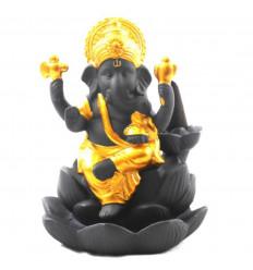 Black and gold ceramic incense fountain Ganesh statuette - face
