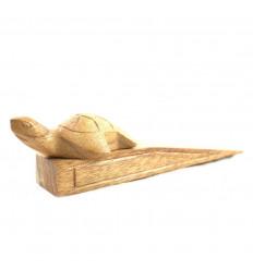 Cale-porte tortue en bois brut sculpté à la main