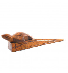 Hand-carved brown wooden turtle holder