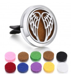 Perfume diffuser for clip car - 10 blotters - Model Silver Angel Wings