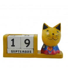 Perpetuo gatto calendario supereroe giallo legno - Superman - viso