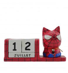 Calendrier perpétuel chat super héros en bois rouge - Spiderman
