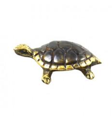 Mini statuetta di tartaruga terrestre in bronzo 4 cm