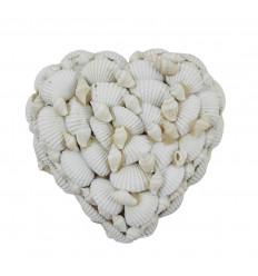 Heart-shaped velvet box covered with seashells